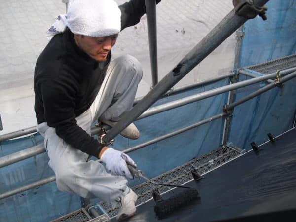 ドイツ張りサイディングの塗替え、屋根の遮熱塗装