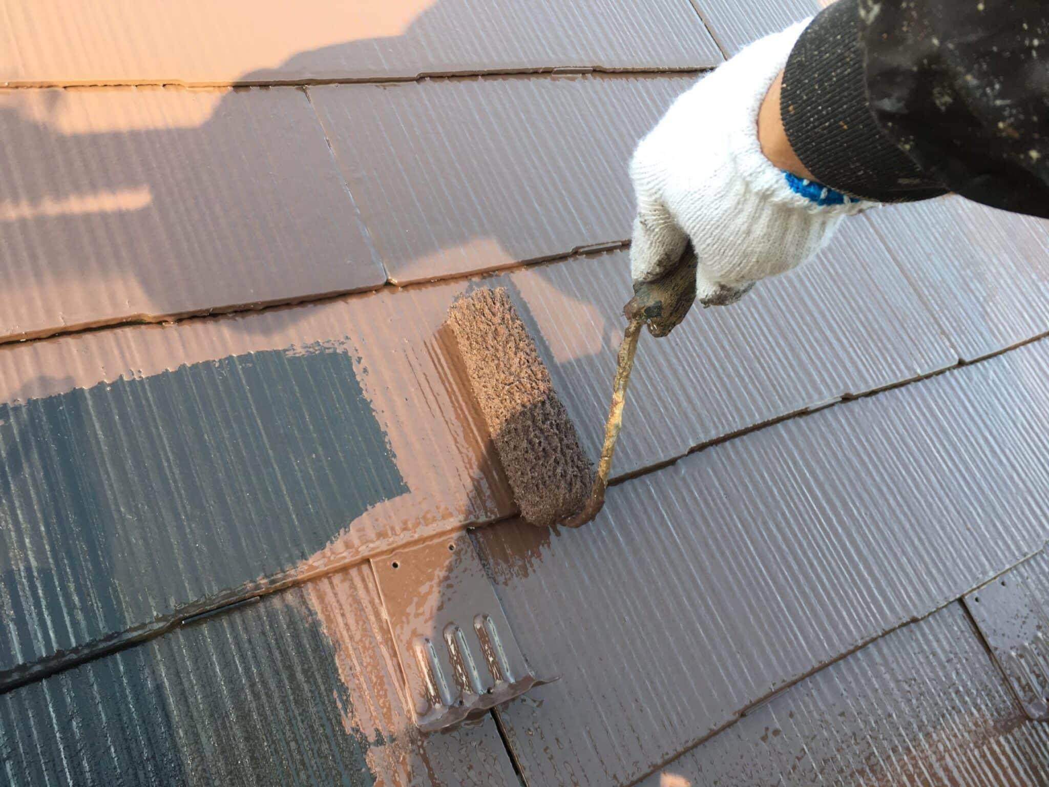 スレート屋根ローラー仕上げ塗装