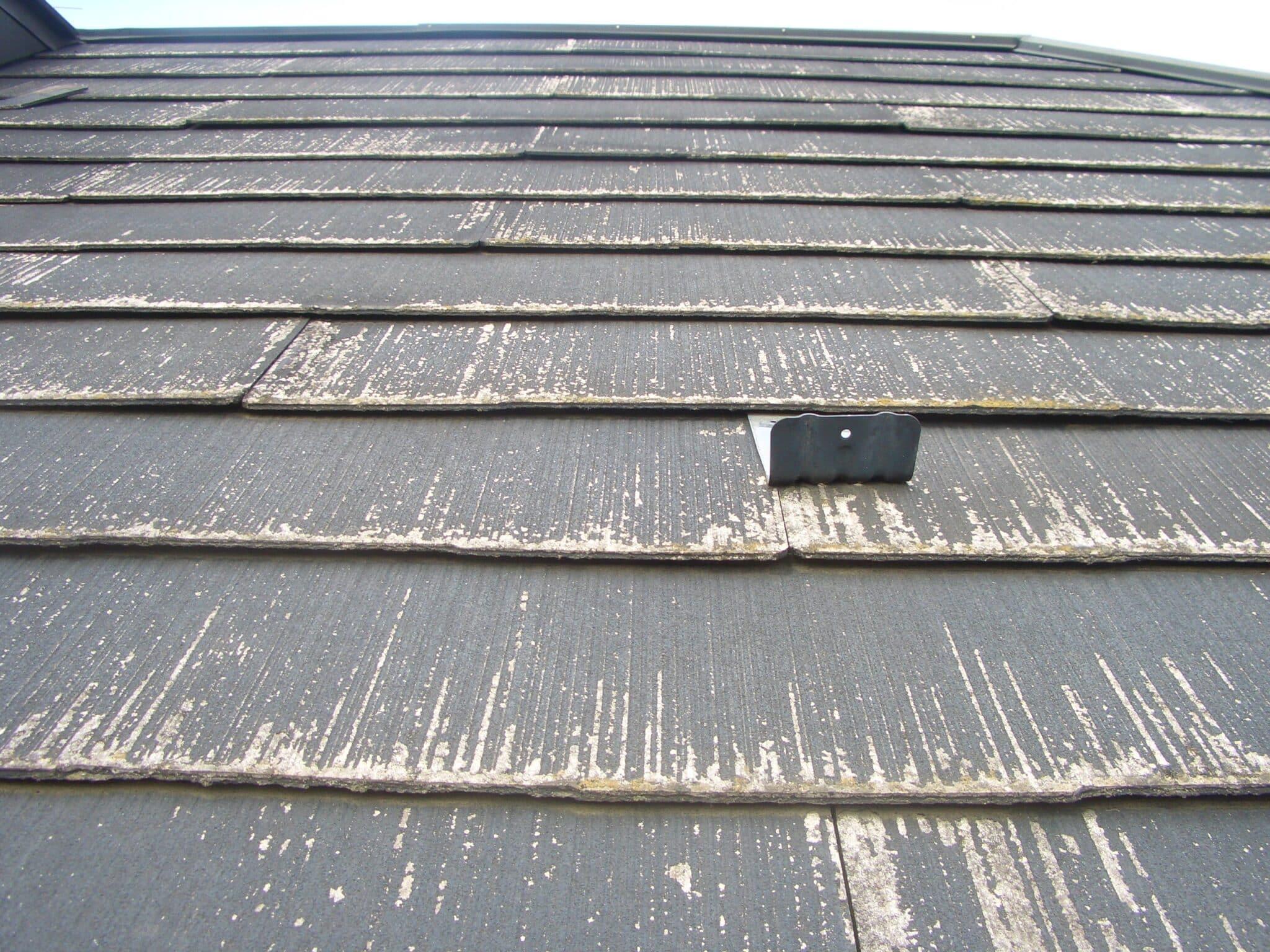 反りも確認できるスレート屋根
