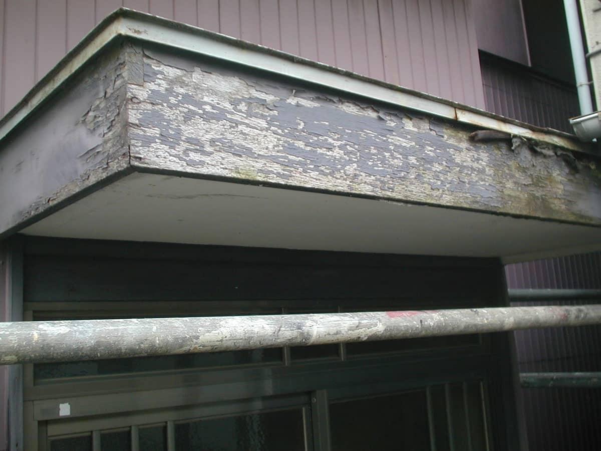 玄関屋根ポーチの腐食