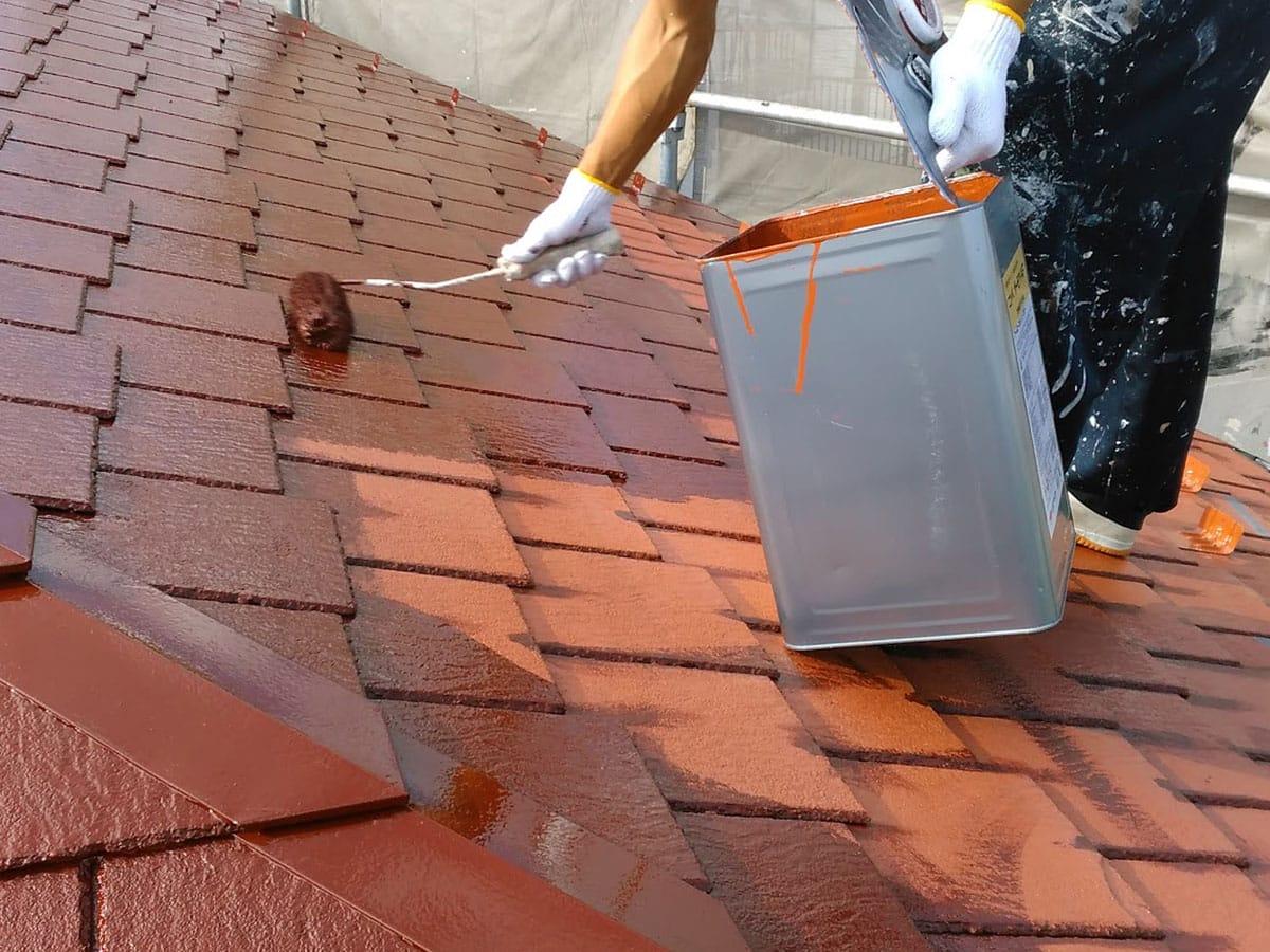 厚みのあるスレート屋根塗装