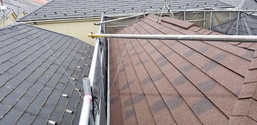 パミール屋根とカバー工法後の屋根